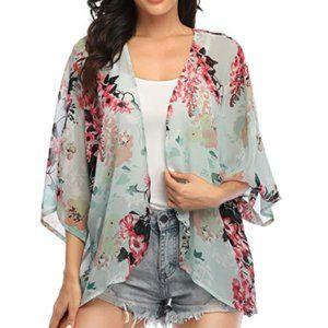 Floral Print Kimonos Loose Casual Beach Cover Ups